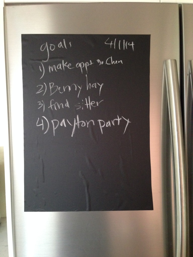 Chalkboard on refrigerator